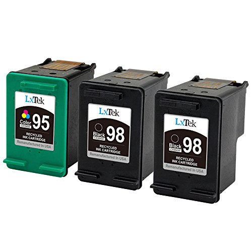 LxTek Remanufactured Ink Cartridge Replacement for HP 98 & HP 95 (2 Black | 1 Tri-Color) C9364WN C8766WN