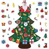 Migaven arbol navidad fieltro, diy arbol de navidad en fieltro adornos colgantes de puerta de pared 40 adornos para niños niños pequeños regalos accesorios para el hogar 47x33 pulgada