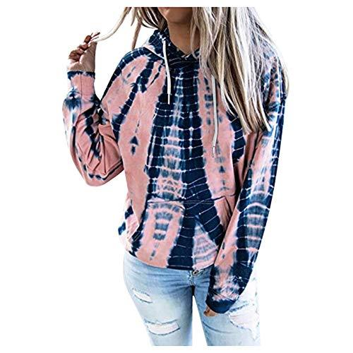 YSLMNOR Gradient Pullover Womens Tie-Dye Long Sleeve Sweatshirt with Pocket Fashion Hoodies Tops Navy