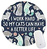 Dream Big Work Hard Inspirational Quote Mouse Pads for Computers, Motivational Quotes Cute cat Navy Blue Mouse Pad for Work
