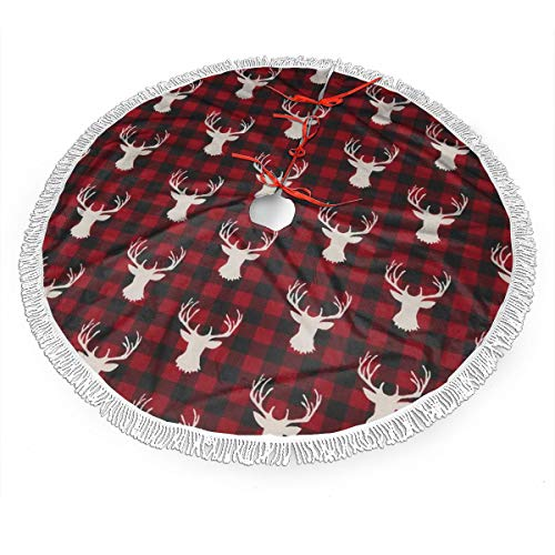 MSGUIDE 48 Inch Tassel Christmas Tree Skirt, Stag Heads on Red & Black Buffalo Tree Skirts Mat for Christmas Holiday Party Decorations
