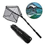 SAN LIKE Fishing Landing Net - Telescoping Catch and Release Rubber Coating Net Folding Portable Non-Slip Extend to 43inches