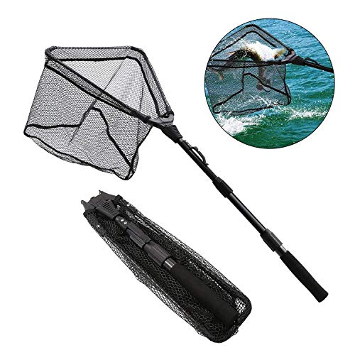 SAN LIKE Fishing Net - Folding Fish Friendly Landing Nets,Telescopic,Lightweight,Sturdy Pole Handle Extending to 43inches for Freshwater Saltwater