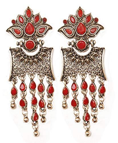 Pahal - Pendientes Jhumka étnicos rojos Kundan oxidados en capas grandes de plata con borla, joyería de boda india Bollywood para mujer