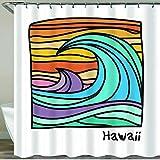 NISENASU Rideau de Douche avec 12 Crochets,Plage de waii,Affiche de Surfeur ou Graphiques,Large Choix de Beaux Rideaux de Douche,de Haute qualité,imperméable 180 * 180 cm