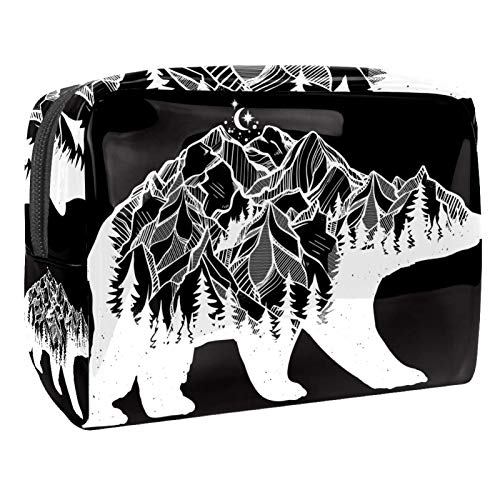 Trousse de Maquillage Voyage Maquillage Case Cosmetic Case Professional Portable Mountain Bear Moon Organisateur et Rangement pour Porte-pinceaux de Maquillage