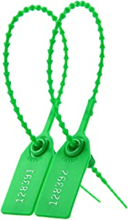 Pull Tite Security Tags Plastic Tamper Seals Zip Ties for Fire Extinguisher Numbered Label Secure Tear Off Seals (1000 X Green)