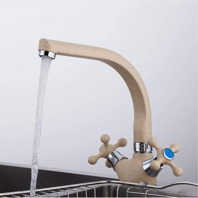 MultiFarbe Sprühlackierung Küchenspüle Wasserhahn Kalt- und Warmwassermischbatterie Kranhahn Doppelgriff 360 Umdrehung