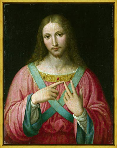 Framed Leonardo Da Vinci Giclee Canvas Print Paintings Poster Reproduction(Follower of Bernardino Luini. Christ) #XLK