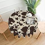 Mantel redondo de poliéster con estampado de piel de vaca marrón resistente al agua a prueba de derrames gran mesa para comedor cocina 60 pulgadas