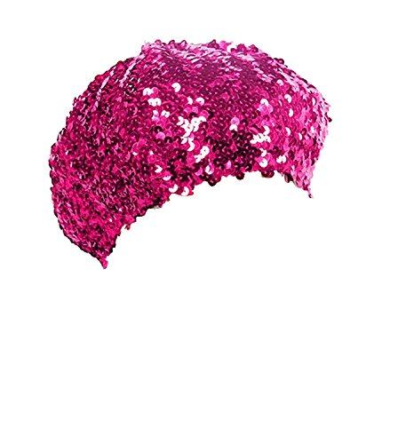 KELAND keland Sparkle Sequine Einstellbare Mütze Baskenmütze Hut Tanzen Tam Cap Silber (MEI red)