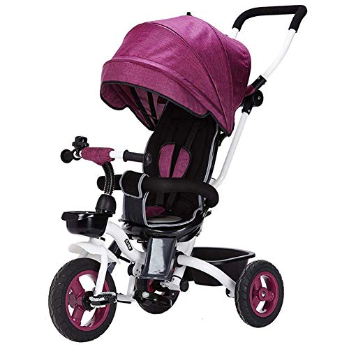 GST Triciclos Triciclo para niños Plegable, 4 en 1 Push Barra de Empuje Puede Ajustado desensamblado Toldo extendido Cómodo Asiento con Estilo Práctico 6 Meses - 5 años (Color : Purple)