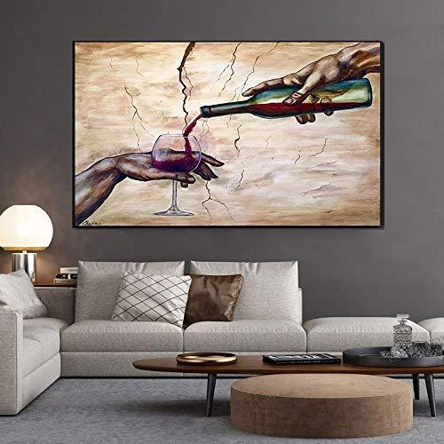 CDERFV Arte Abstracto Moderno con Dos Manos, Carteles e Impresiones de Copas de Vino Tinto, Cuadros Impresos en Lienzo, Cuadro de Arte de Pared, decoración para Sala de Estar, 50x100cm (sin Marco)