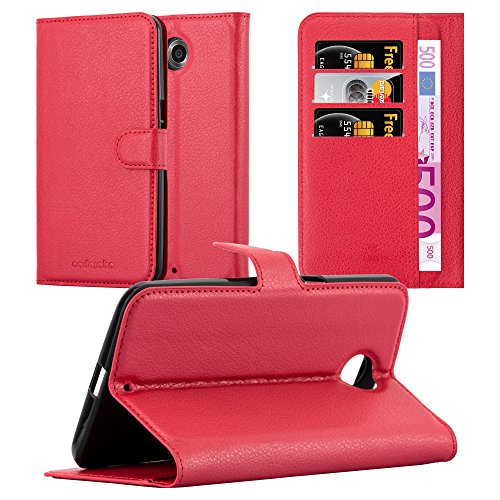 Cadorabo Hülle für Lenovo Google Nexus 6 / 6X in Karmin ROT - Handyhülle mit Magnetverschluss, Standfunktion & Kartenfach - Hülle Cover Schutzhülle Etui Tasche Book Klapp Style
