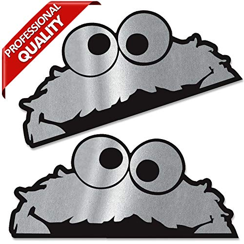 Biomar Labs® 2 x Vinyl Aufkleber Sticker Lustig Autoaufkleber Sesamstraße Krümelmonster Elmo Cookie Monster Sesame Street Auto Motorrad Fenster Fahrrad Laptop Silber B 262
