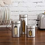 Market Fairy Stainless Steel Canister with Glass Window - Kitchen Counter Storage, Food