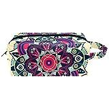 Bolsa de Maquillaje para niños Mandala Indio psicodélico Accesorio de Viaje Neceser Pequeño Bolsas de Aseo Impermeable Cuero Cosmético Organizadores de Viaje 21x8x9 cm