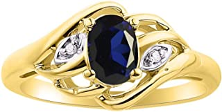 Diamond & Blue Sapphire Ring Set In Yellow Gold Plated Silver .925