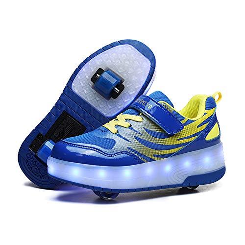 YSTHEZ Rodillo de Carga USB Skate Shoes Girls Roller Skate Shoes Sneakers LED Light Up Wheels Dos Ruedas Zapatos para niños Regalo para Principiantes,Azul,36