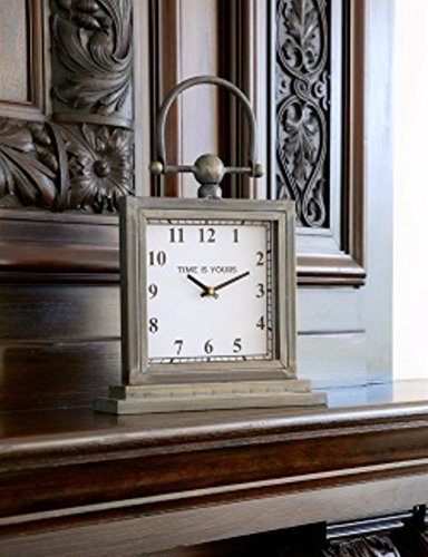 Melrose International Desk/Mantle Clocks Vintage Design Metal/Glass (Metal Work Gothic)