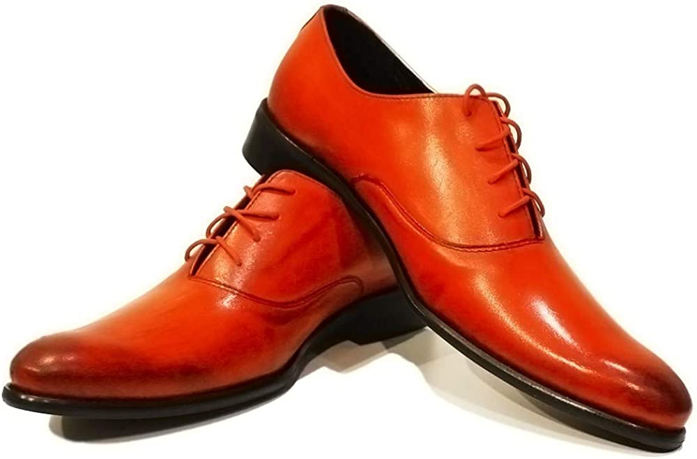 Modello Giacio - Handmade Italian Mens Color Orange Oxfords Dress Shoes - Cowhide Hand Painted Leather - Lace-Up
