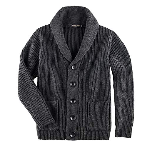 VOBOOM Men's Knitwear Button Down Shawl Collar Cardigan Sweater with Pockets (Dark Grey, L)