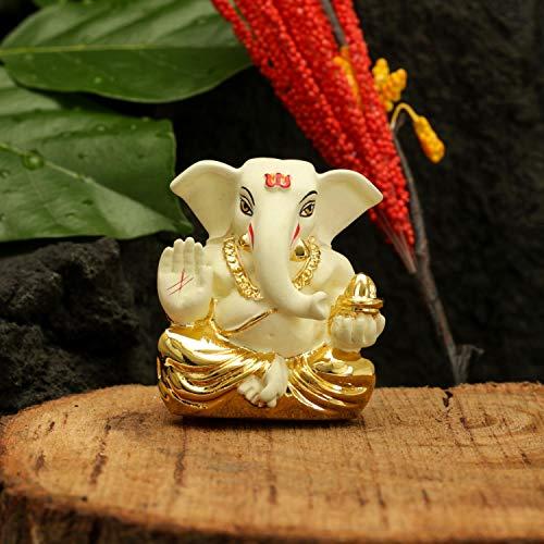 CraftVatika Gold Plated Off White Terracotta Appu Ganesha for Car Dashboard Statue God Ganesh Murti Ganpati Idol FigurineHome Decor (Size: 6 cm x 4 cm)