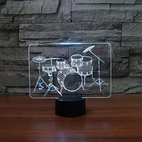 Optische Täuschung der Sichtlampe-3D führte Nachtlicht 7 ändernde Farben Noten-Nachtlicht Ein perfektes Weihnachts- und Neujahrsgeschenk für Mädchen und Jungen-Snaredrum