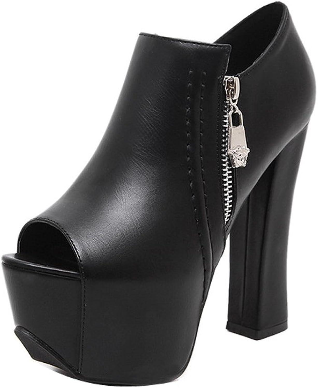 Ladola Womens Firm-Ground Zipper Peep-Toe High-Heels Urethane Pumps shoes