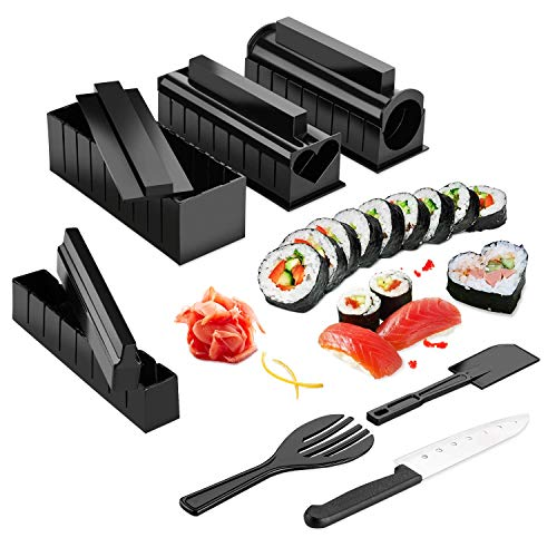 Sushi Making Kit - ISFORU DIY Sushi Making Kit Roll Sushi Maker Rice Roll Mold with Sushi Knife 11 Piece DIY Sushi Set - Easy and Fun - Sushi Rolls - Maki Rolls