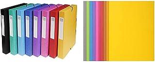 Exacompta 50400E Lot de 8 Boites de classement Exabox en carte lustrée & Réf. 210001E - Paquet de 100 chemises ROCK''S 210...