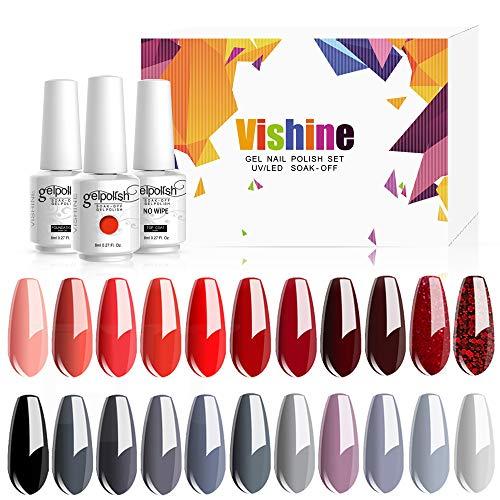 Vishine Vernis Gel Semi-Permanent, Vernis à Ongles Gel, 22 Couleurs + Base Coat & Top Coat, UV LED Vernis à Ongles Gel Soak Off, Ensemble Couleurs de