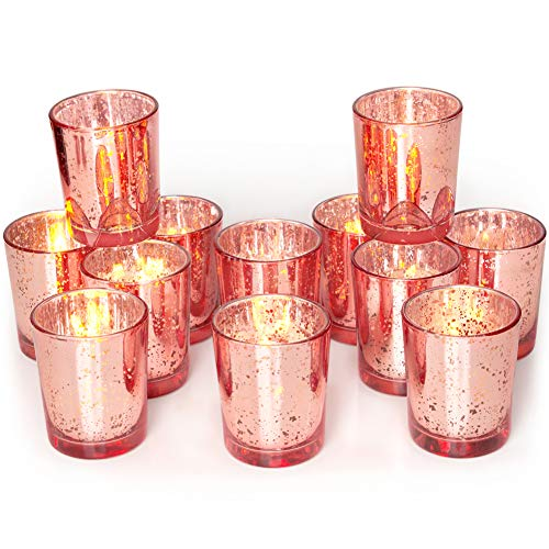 Volens Rose Gold Party Decorations 12pcs, Mercury Glass Votive Candle Holders Set for Wedding, Birthday and Bridal Shower Table Centerpieces
