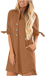 Women V Neck Long Sleeve Tops, Ladies Solid Button Pocket Casual Shirt Dress Mini Dress