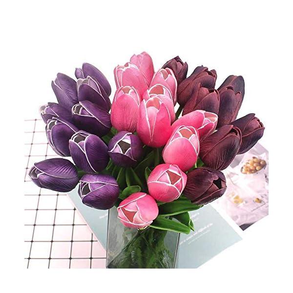 LUCY WEI Flores de Tulipán Artificiales,12 PCS Púrpura Flores Falsas de Látex para Bodas,Fiestas,Hogar,Jardín,Oficina