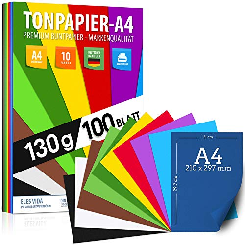 100 Blatt TONPAPIER - Buntes Papier DIN A4-130g/m² Set 10 Farben – Stabil Bastelpapier & Farbige Blätter, Kinder & DIY Bogen, Zubehör zum Basteln für Fotoalbum Geschenke zum Kreativ sein Bedruckbar