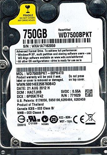 Western Digital wd7500bpkt-00pk4t0750GB DCM: hactjhb