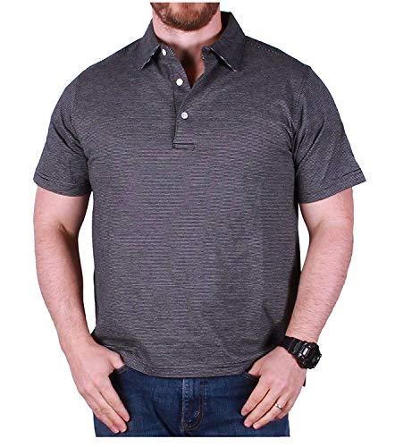 HENRY GRETHEL Men's Black Striped Polo Shirt (X-Large)