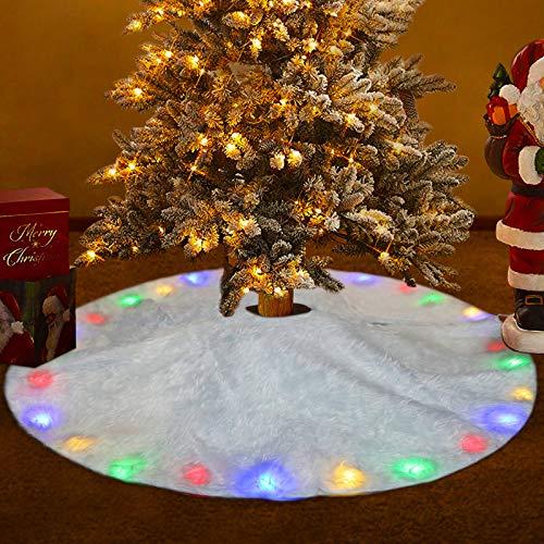 FREESOO Weihnachtsbaumdecke Christbaumdecke Rund Weihnachtsbaumständerhüllen Weihnachtsbaum Rock Christbaumständer Teppich Weihnachtsdekoration Weihnachtsbaum Teppich 122CM LED