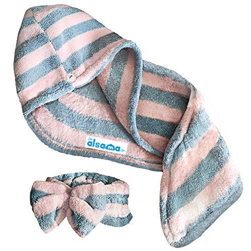 Alsama, turbante de microfibra, antiencrespamiento, superabsorbente, de secado rápido, para cabello largo, rizado, de alta calidad, ultra suave, con banda para el pelo (rayas grises)