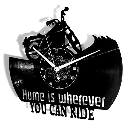 Vinyl Wandklok Vintage Handgemaakte Decor Thuis Office Moto Motor Motorrijders