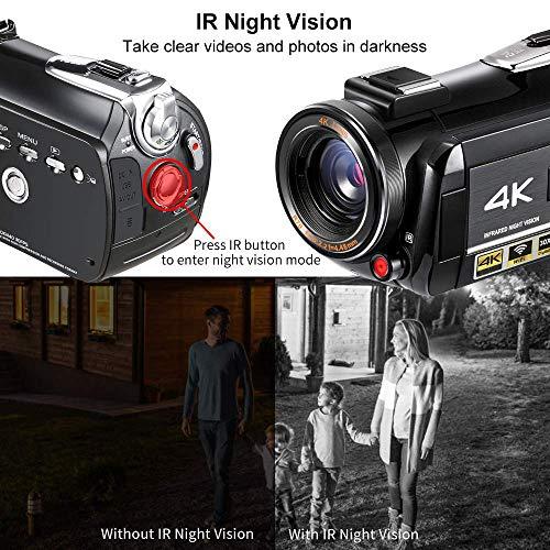Camcorder 4k Video Kamera ORDRO Videokamera HD 1080P 60FPS Vlog Kamera IR Nachtsicht WiFi Camcorder mit Mikrofon, LED Licht, Weitwinkelobjektiv, Halter, Tragetasche