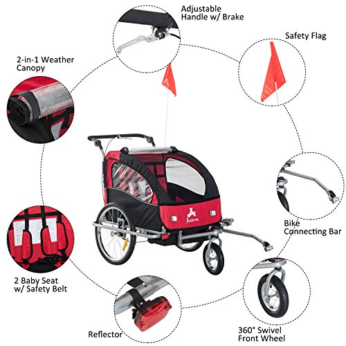 HOMCOM 2 in 1 Multi-Function Bicycle Child Carrier Baby Trailer Stroller Jogger Kit in Steel Frame 1-2 Years Old Little Baby Buggy Jogger (Black and Red)