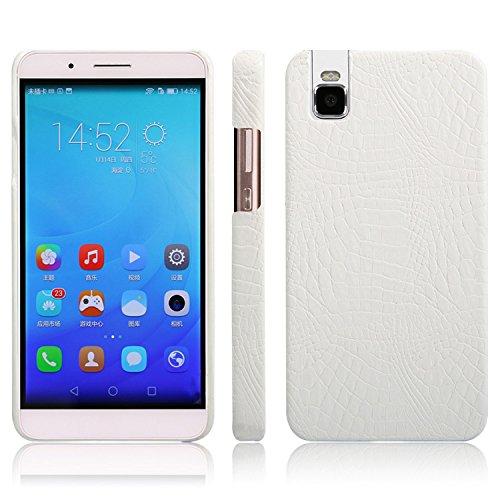 Funda protectora de piel de cocodrilo clásica de lujo [ultra delgada] de piel sintética antiarañazos PC protectora protectora funda rígida compatible con Huawei Honor 7i / Shot X. (color: blanco)