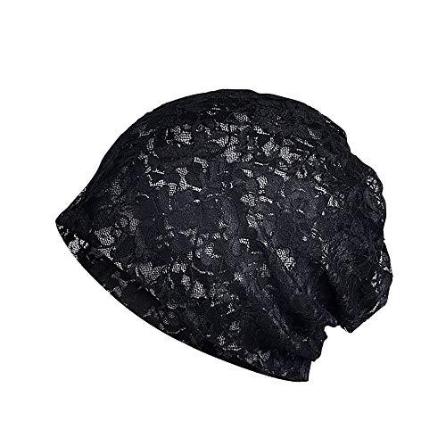 Fantastic Deal! Women India Muslim Stretch Turban Hat Lace Flower Hair Loss Head Scarf Wrap Black