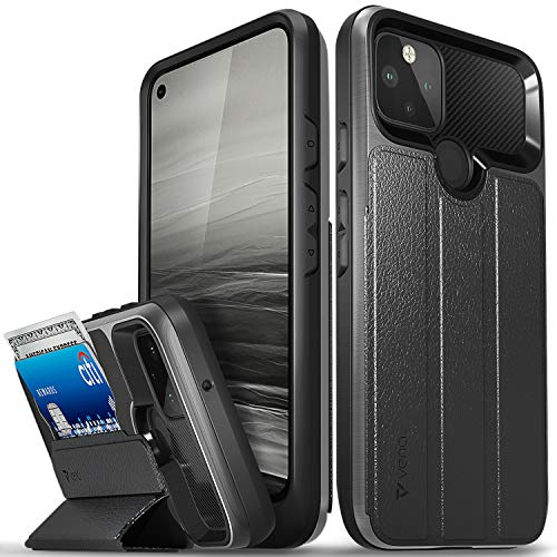 "Vena vCommute Wallet Case Compatible with Google Pixel 5 (6.0""-inch), (Military Grade Drop Protection) Flip Leather Cover Card Slot Holder with Kickstand - Space Gray"