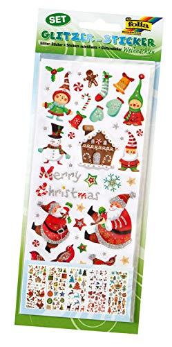 folia 1412 - Glitzer-Sticker Weihnachten, ca.10 x 23 cm, 5 Blatt, Motive sortiert - ideal geeignet zum Verzieren von Grußkarten, Bastelarbeiten und Scrapbooking