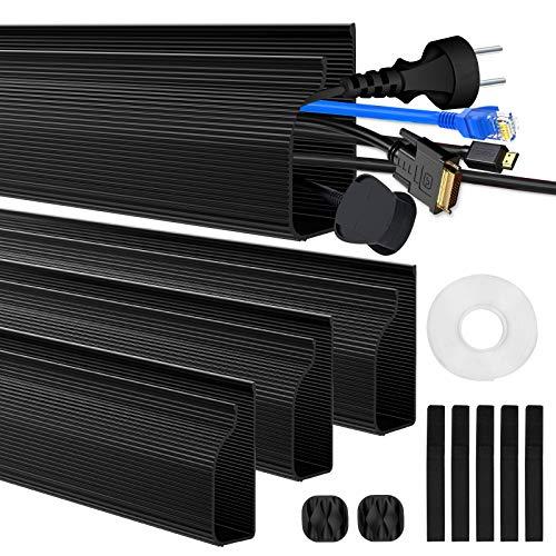 Kabelkanal Kabelmanagement Schreibtisch Kabelabdeckungen Verstecken für Büro und Zuhause, Schwarz, 4 Stück