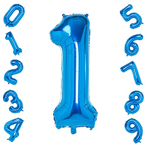 Blue 1 Balloons,40 Inch Birthday Foil Balloon Party Decorations Supplies Helium Mylar Digital Balloons (Blue Number 1)