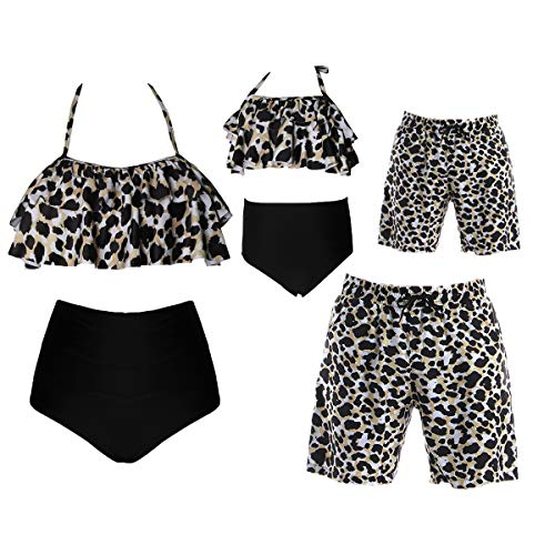 Family Matching Swimsuits Men's Leopard Print Swim Trunks Quick Dry Beach Shorts Swimwear Bathing Suit Dad XXL